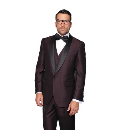 Plum 3-Piece Burgundy ~ Wine ~ Maroon Shawl Lapel Vested Suit Dinner Jacket Tuxedo Clearance Sale Online Burgundy Tuxedo