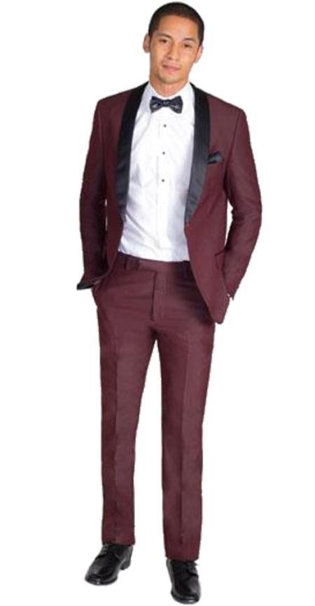 Men's Single Breasted Burgundy Slim Fit Black Shawl Lapel Tuxedo Clearance Sale Online