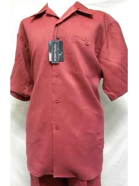 Product# SM714 2 Piece Red Linen Short Sleeve Walking trendy casual Big Size Suit