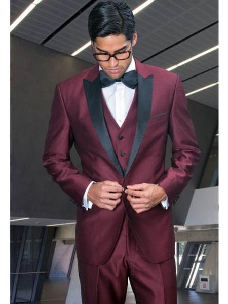 Product# RA66 Peak Lapel 3 Piece Wool Fabric 1920s tuxedo style Suit Shiny Flashy Look Dinner Jacket Burgundy Clearance Sale Online