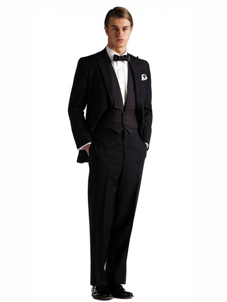 Product# MO438 Gatsby Collection 1920s Tuxedo Style With Peaked Lapels Flap Pockets And Patterned SB Vest