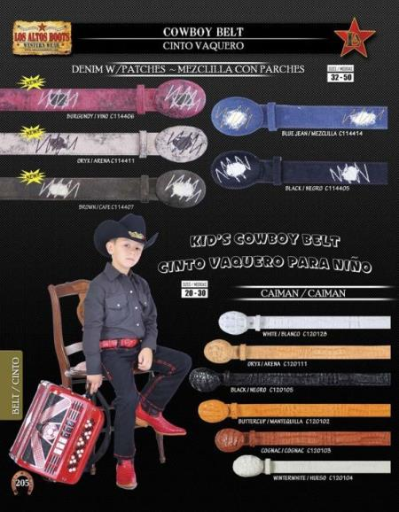 Product# MAC3 Kids Cowboy Exotic Belt cai ~ Alligator skin & Ostrich by Authentic Los altos