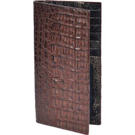 Product# KA3767 Chequera cai ~ Alligator skin Lomo Wallet - Cafe