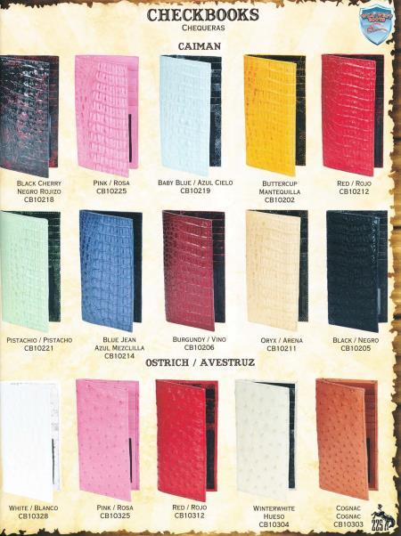 Product# 6C3S Ladies Genuine cai ~ Alligator skin & Ostrich Checkbooks Different Colors
