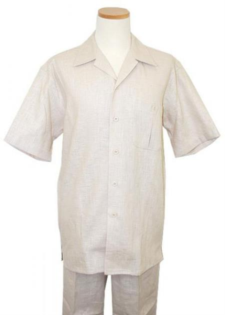 Product# RM1428 Linen Notch Lapel Single-breasted Summer Walking trendy casual Suit Short sleeve Shirt + Pants Natural