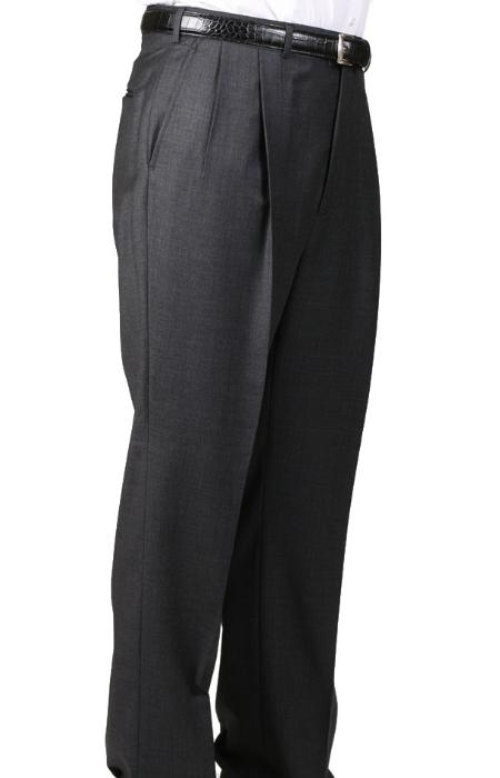 Product# IF4964 55% Dacron Polyester Dark Grey Masculine color Somerset Double-Pleated Slacks Slaks / Dress Pants Trouser Harwick Made In USA America