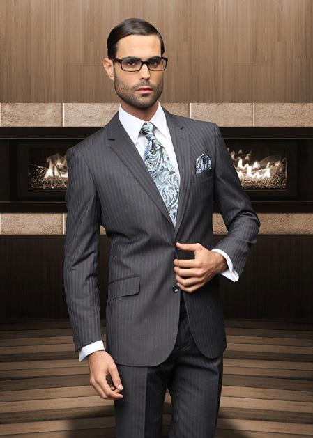 Mens Two Buttons Grey Suit