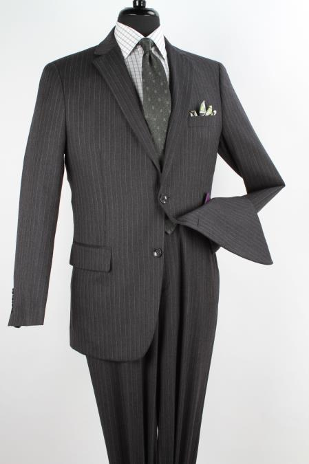 2 Piece 100% Wool Fabric Executive Suit - Notch Lapel Dark Grey Masculine color with Silver Stripe ~ Pinstripe