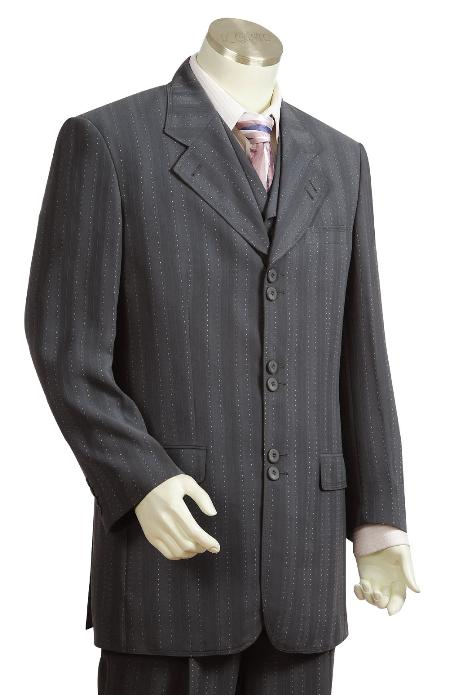 Product# LD9300 Fashion 3 Piece Vested Dark Grey Masculine color Long length Zoot Suit For sale ~ Pachuco Mens Suit Perfect for Wedding
