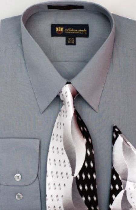 Product# SW904 Milano Moda Classic Cotton Dress Shirt with Ties and Handkerchiefs Dark Grey Masculine color