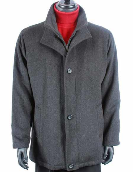 Mens Charcoal Gray Wool
