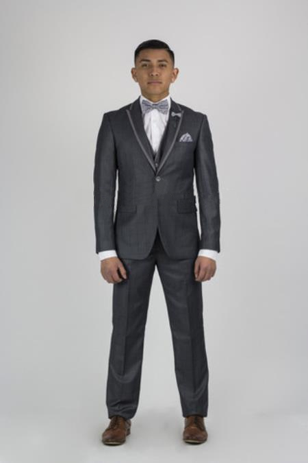 Product# SM153 Dark Grey Masculine color Grey Tuxedo  Liquid Jet Black Lapel With Center Vented Wedding Groom Suit Clearance Sale Online