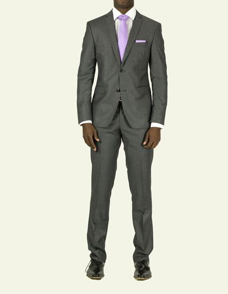 Product# EFTR-612 Mens Pick Stitched 2 Button Slim Fit Skinny Charcoal Suit