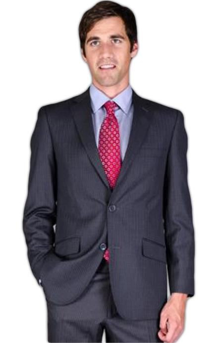 Slim narrow Style Fit Dark Grey Masculine color Stripe ~ Pinstripe 2-Button Suit