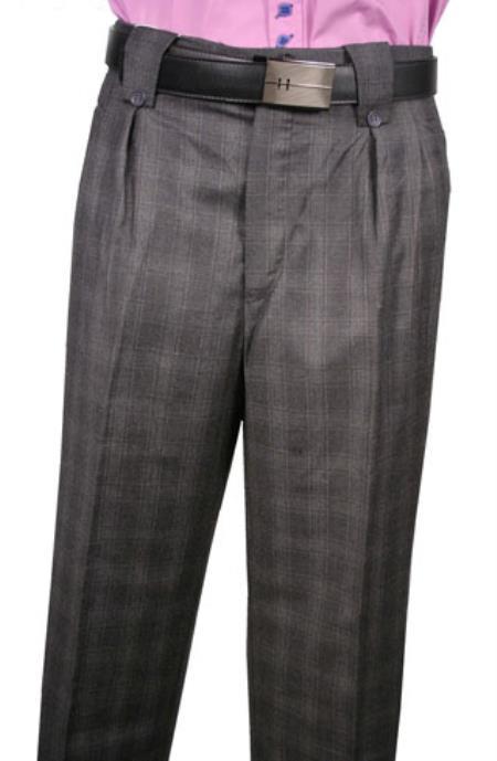 Veronesi Window Wool Fabric Wide Leg Dress Slacks 1920s 40s Fashion Clothing Look ! Charcoal