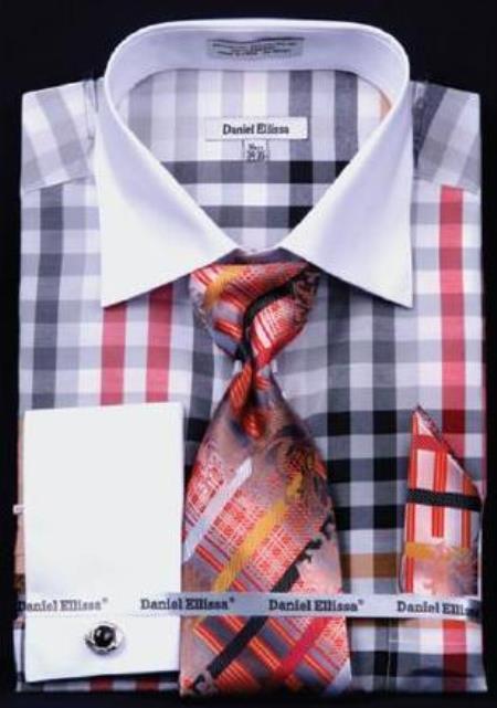 cb0796b672d Product  AC-442 Checker Pattern Dress Fashion Shirt  Tie   H