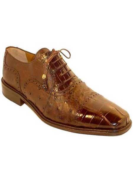 Ferrini Alligator skin Chocolate Ostrich Cap Toe High Fashion Shoes