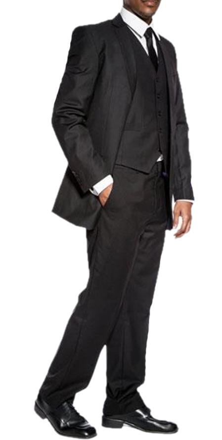men's classic black slim fit 3 piece wedding prom vested suit