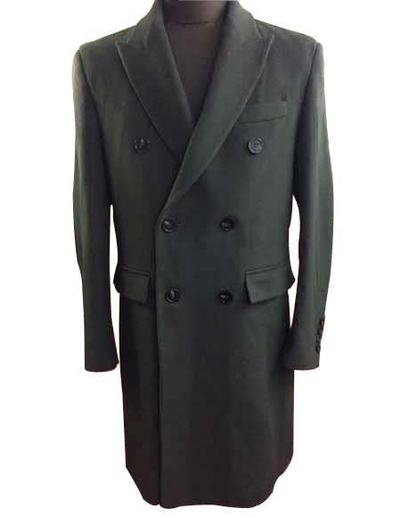 AZAR MAN Slim Fit Modern Wool Overcoat 3 Button Notch Lapel Top Trench Coat