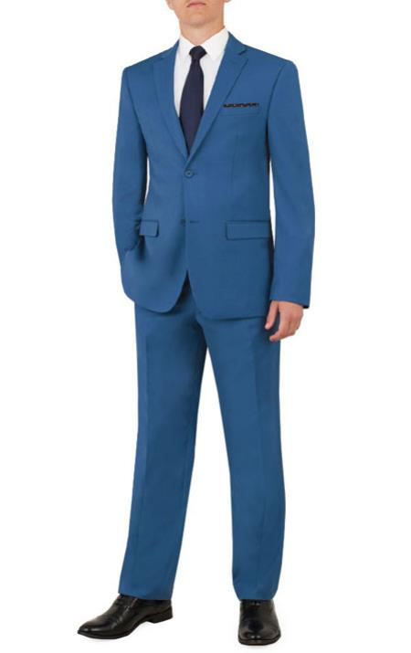 Notch Lapel Flat Front Pants Cobalt Blue Suit