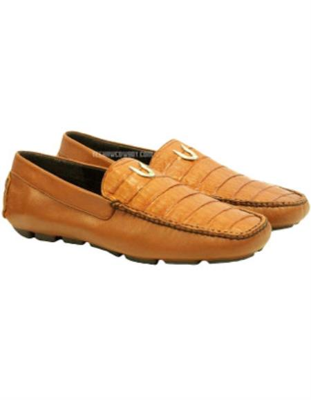 Product# JSM-1731 Men's Vestigium Genuine Caiman Belly Loafers Cognac Full Leather Lining