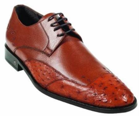 Product# MK919 Ostrich Full Quill Skin Cognac Dress Shoe