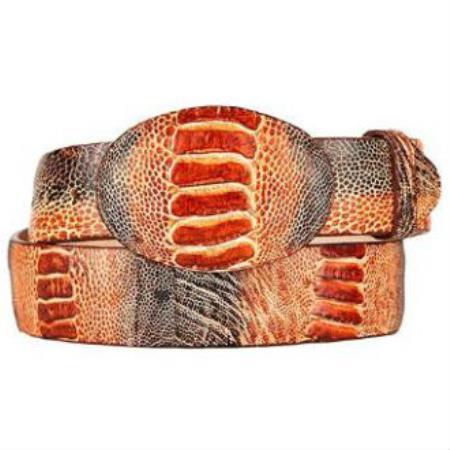 Product# MK116 Rustic Cognac Original Ostrich Leg Skin Western Style Hand Crafted Belt