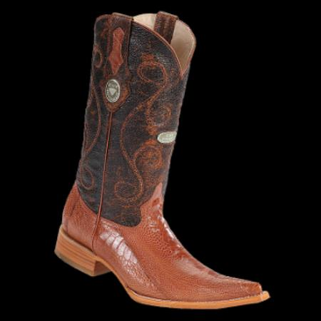 Product# KA8356 New Reg: $795 discounted Online Sale clearance diamonds Boots- Ostrich Leg Cognac 3x-Toe Cowboy Boots