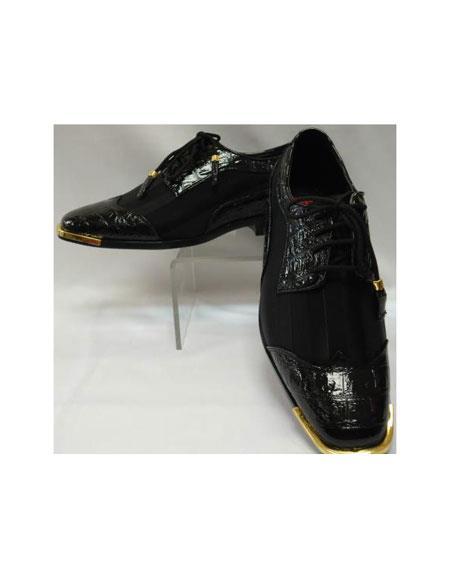 Cool Liquid Jet Black Wingtip Style Satin Goldtip Dress 1920s style fashion men's shoes for Online