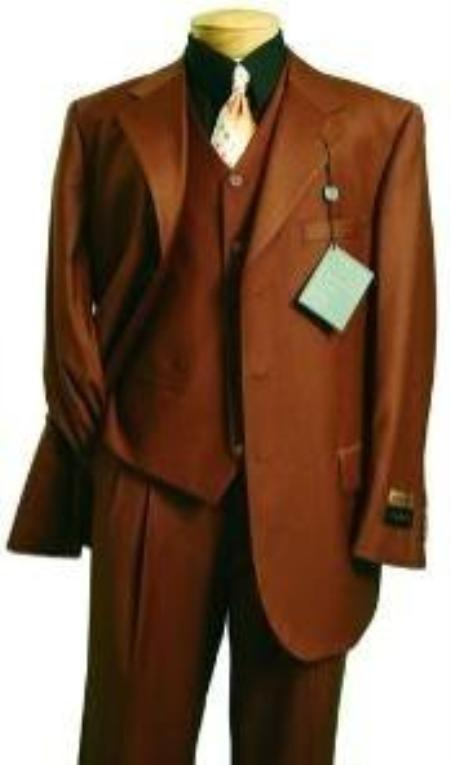 Fashion three piece suit in Superior Fabric 150's Luxurious Wool Fabric Feel Copper~Rust~Cognac