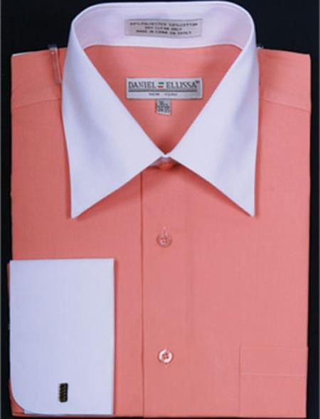 Product# MK652 Daniel Ellissa Two Tone Coral French Cuff Dress Shirt Big and Tall Sizes