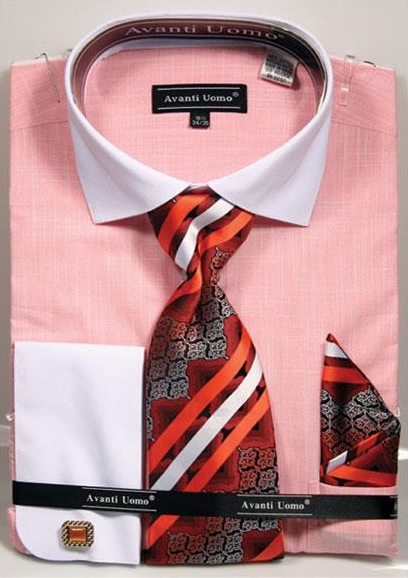 Product# JSM-3714 Men's Textured Pattern French Cuff 100% Cotton Coral Fashion Shirt with Tie & Hanky Set