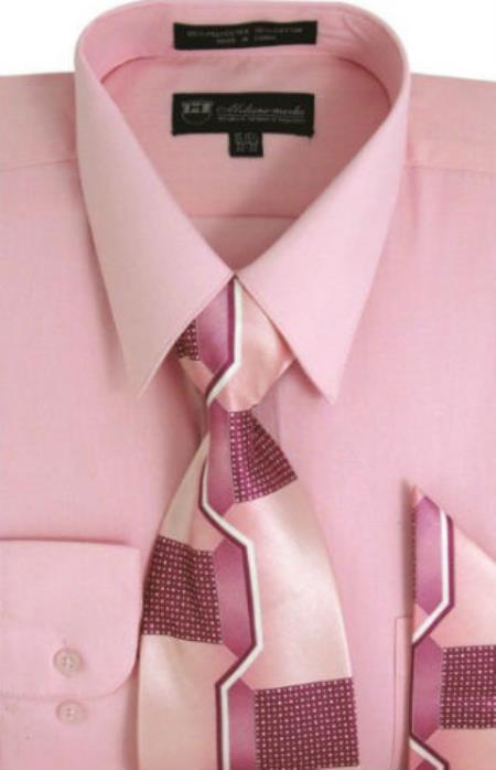 Product# SW913 Milano Moda Classic Cotton Dress Shirt with Ties and Handkerchiefs Pink