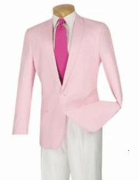 Product# QY73L 1-Button Linen/Cotton Modern Slim narrow Style Fit Sportcoat Pink