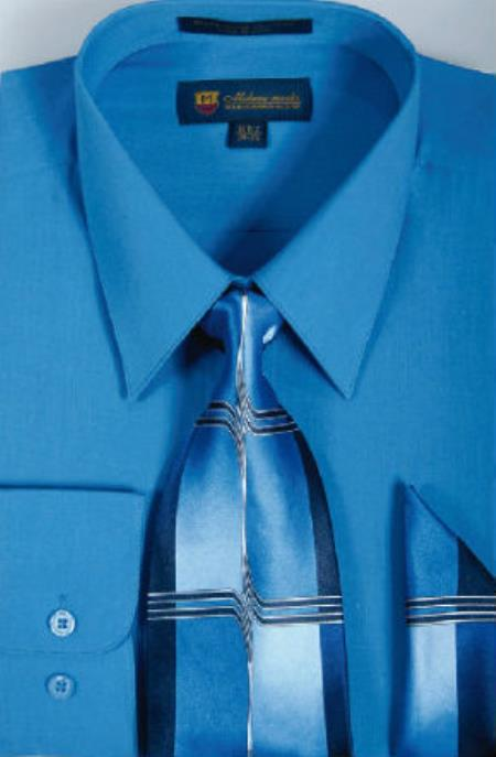 Milano Moda Classic Cotton Dress Shirt with Ties and Handkerchiefs royal blue pastel color