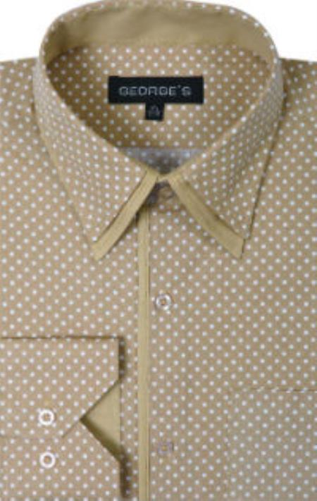 Product# SW934 George 100% Cotton Polka Dot Design Dress Shirt Tan khaki Color