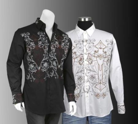 Product# PNQ54 100% Cotton Stylish trendy casual Embroidered Fashion Dress Shirt Multi-Color