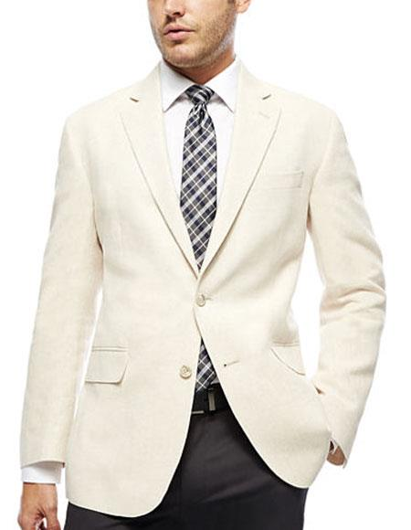 men's ivory ~ cream ~ off white 2 button blazer ~ sport coat & dinner jacket