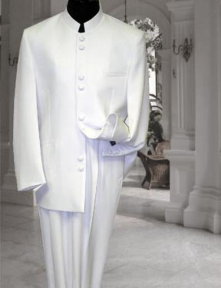 White ~ Cream ~ Ivory no collar mandarin Suit