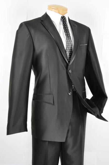 Slim narrow Style Fit Trimmed Two Tone Blazer Online Sale/affordable suit online sale/Tuxedo - Liquid Jet Black