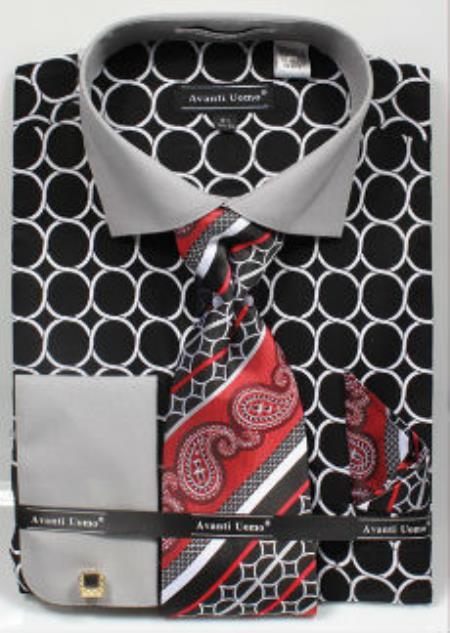 Avanti Uomo Printed Pattern French Cuff Dress Shirt Liquid Jet Black