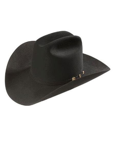 Product# KA4107 Stetson Hats-100x El Presidente w. 10K Gold 3 Piece Buckle Liquid Jet Black