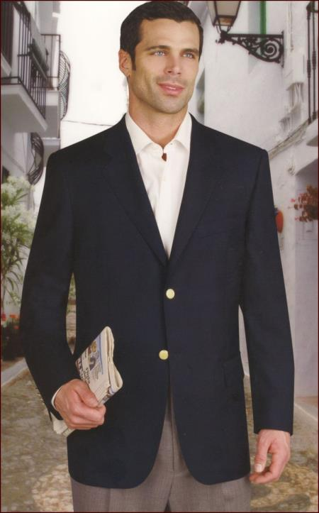 Product# PN_S73 Wool Fabric And Silk Blazer Online Sale With Brass Buttons Side Vents Liquid Jet Black
