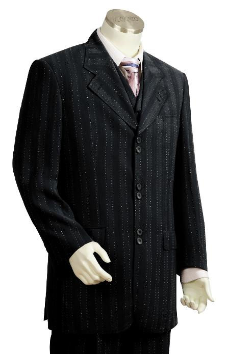 YH5638 3 Piece Liquid Jet Black Unique Exclusive Fashion Suit