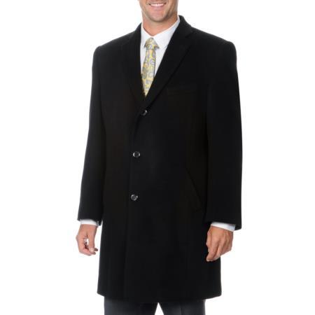 Product# PN82 'Ram' Liquid Jet Black Cashmere Blend Top Coat