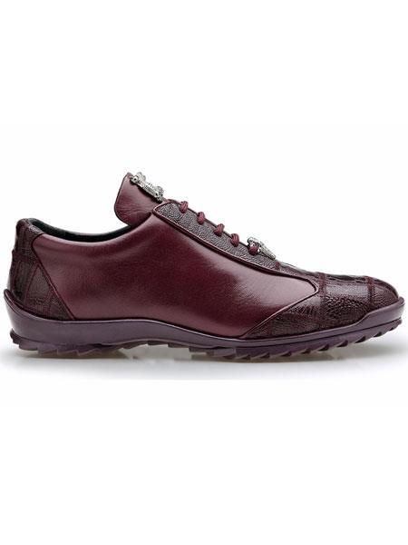 Belvedere Paulo Genuine Dark Burgundy Ostrich And Soft Calfskin Sneakers