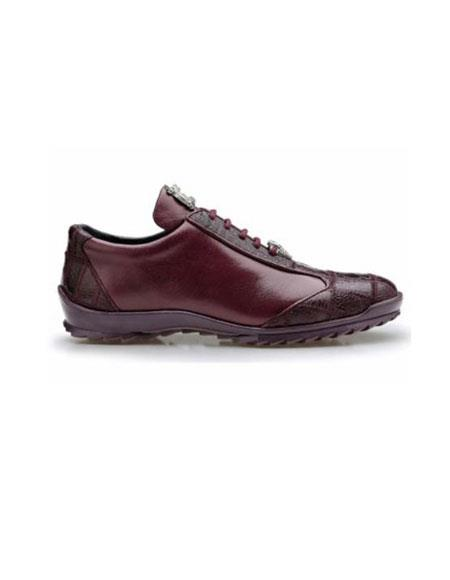 Product# JSM-2053 Authentic Belvedere Exotic Skin Brand Genuine Ostrich and Soft Calf Leather Lining Dark Burgundy Shoe