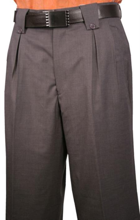 Veronesi Flap Back Pocket Fine Wool Fabric 1920s 40s Fashion Clothing Look ! Wide Leg Dress Pants Dark Gray