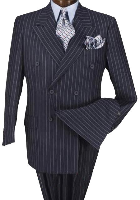High Quality Navy Blue Shade & Chalk pronounce visible White Pinstripe Double Breaste 100% Wool Fabric feel poly-rayon