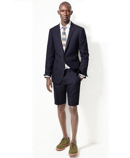 Men's Navy Blue Summer Business Suits With Shorts Pants Set (Sport Coat Looking)